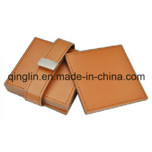 Custom Business PU Square Shape Metal Cosater (QL-BD-0001) pictures & photos