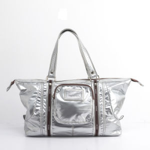 High Quality Brand Women Shiny Sliver Nylon Handbag (pH982)