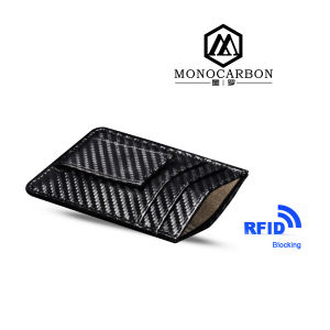Bulk Supply RFID Function Carbon Fiber Pattern PU Leather Money Clip Credit Card Holder pictures & photos