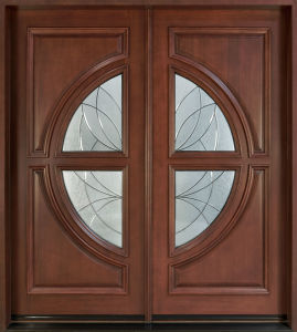 Solid Timber Door/Villa Door/Double Sashed Wooden Door with Glass Solid Wood Door pictures & photos