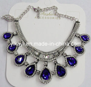 Woman Fashion Jewelry Blue Waterdrop Glass Crystal Pendant Necklace (JE0210) pictures & photos