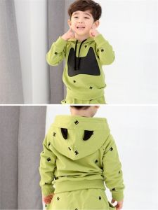 Ks57 Hotsale Spring Autumn Newest Boy Suits Long Sleeve Two-Piece Pullover Hooded Kids Clothes for Retail pictures & photos