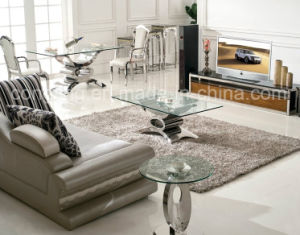 Modern Dining Room Top Glass Stainess Steel Dining Table for Sale pictures & photos
