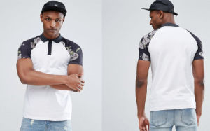 Tall Polo with Contrast Raglan Pixel Floral Print Sleeves pictures & photos