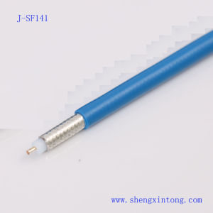 J-Sf141 Semi-Flexible Coaxial Cable with Blue FEP Jacket