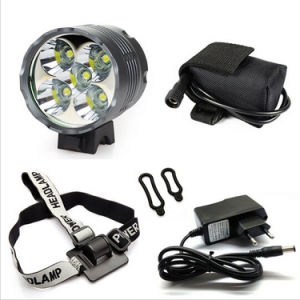 7000lm Xml-T6 Waterproof Grade IP65 12000mAh Battery Operated Hunting CREE 5 LED Bike Light pictures & photos