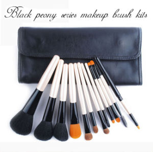 12 Pieces Black Peony Series White Handle Animal Hair Makeup Brush