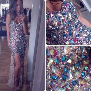 Crystal Stones Prom Dresses Sheer Evening Party Cocktail Dresses Z5009 pictures & photos