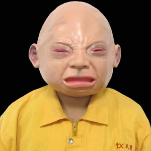 Full Head Novelty Face Latex Scary Mask Halloween Costume Crying Baby Mask pictures & photos