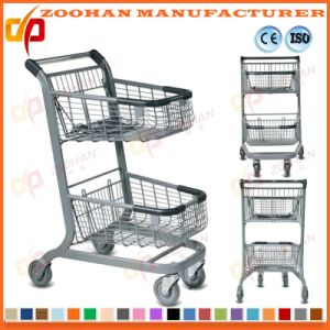 Two Basket Handy Chrome Plated Supermarket Handling Shopping Trolley (Zht200) pictures & photos