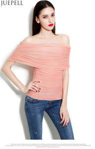 New Spring and Summer Women′s Multicolour One Word Shoulder Sexy Gauze Ruffle Blouse Temperament Slim Bottoming Wild Women Silk Top pictures & photos