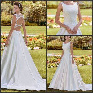 A-Line Sleeveless Bridal Gown Lace Appliqued Satin Wedding Dresses D68 pictures & photos