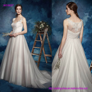 W18627 Sleeveless Lace Straps V-Neck Ruched Surplic Bodice A Line Wedding Dress with Romantic Train pictures & photos