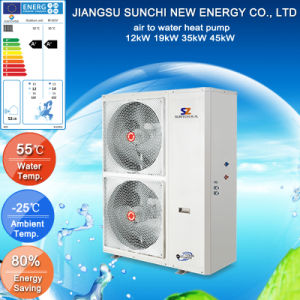 CE, CB, En14511, Australia Certificate 3kw, 5kw R410A, High Cop4.2, Outlet 60c Hot Water Tankless Split Small Heat Pump Water Heater pictures & photos