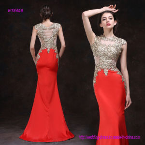 China Factory Direct Elegant Sleeveless Embroider Mermaid Evening Dress pictures & photos