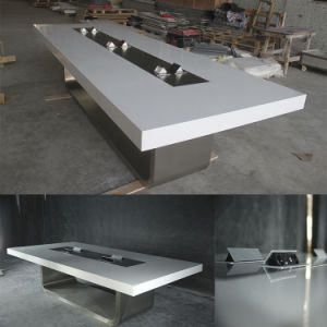 Design ISO Standard Premium Table Set Size White High Gloss Corian Artificial Marble Top Italian Styles Modern Design Custom Made Office Table pictures & photos