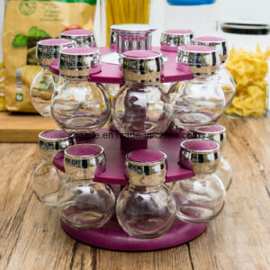 Factory Wholesale Glassware Color Rotate Rack Storage Spice Glass Bottle pictures & photos