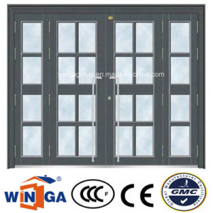 Classic Grey Color Big Security Steel Glass Door (W-GD-37) pictures & photos