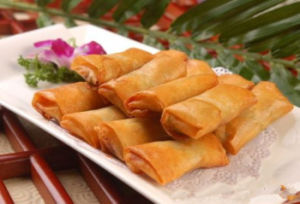 IQF Frozen 100% Hand Made Vegetable 50g/piece Cylinderical Elongated Spring Rolls pictures & photos