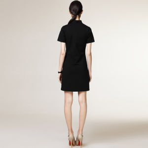 Classic Black Colors with Zipper Slim Fit Style Formal Ladies Designs Office Dress pictures & photos