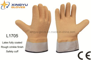 Jersey Liner Latex Fully Coated Safety Cuff Work Glove (L1705) pictures & photos