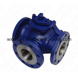 T Type Wcb Flange End 3-Way Ball Valve pictures & photos