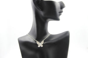 Butterfly Shaped Full Diamond Copper Necklace (NJB_0125)