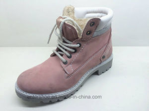 Warm Pink Leather Ankle High Women Winter Boots (ET-XK160355W) pictures & photos