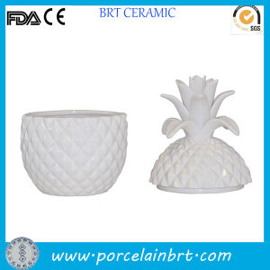 White Ceramic Unique Shaped Pineapple Jar for Candle pictures & photos