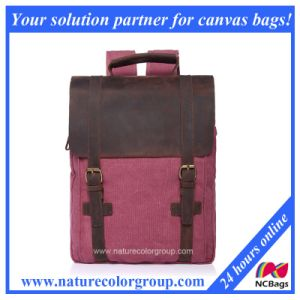 Canvas Student School Laptop Bag Backpack with Real Leather pictures & photos