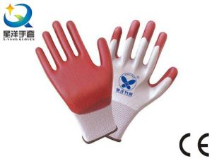 13G Polyester with Nitrile Coated, Safety Work Gloves (N6022) pictures & photos