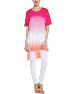 Ladies′ DIP Dye Ombre Short Sleeve Tunic with High-Low Hem