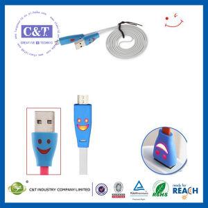 Noodle Flat Smile Face LED Light USB Cable pictures & photos