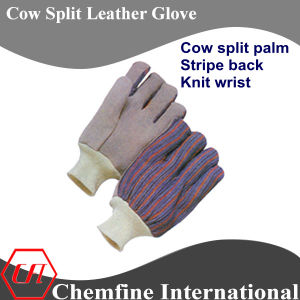 Cow Split Palm, Stripe Back, Knit Wrist Leather Work Gloves pictures & photos