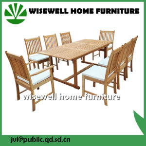 Solid Wood Outdoor Furniture Extendable Dining Set with Umbrella pictures & photos
