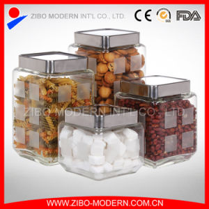 Wholesale High Quality Glass Candy Jar/Square Glass Jar/Cookie Jar Glass pictures & photos
