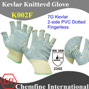7g Kevlar Knitted Fingerless Glove with 2-Side PVC Dotted/ En388: 234X pictures & photos
