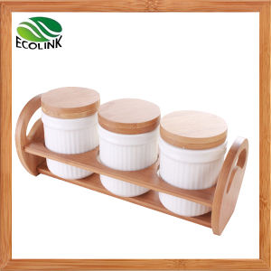 Sugar Salt Spice Jar with Bamboo Stand pictures & photos