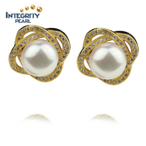 Simple Design 9mm Gold Plated AAA High Quality Fashion White Pearl Earring