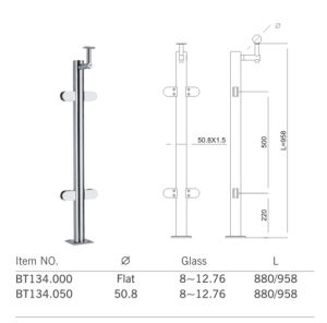 High Quality Stainless Steel Handrail Fitting Bracket (BT134) pictures & photos