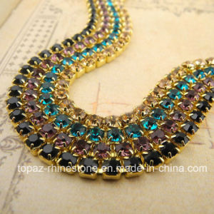 Super Closed Lace Trim Rhinestone Brass Cup Chains 2.8mm (TCS-ss10) pictures & photos