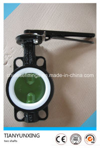 Casting Steel Manual Operated Rubber Lined Wafer Butterfly Valve pictures & photos