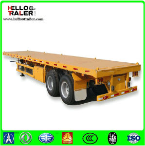 Chinese 40 Ton Tri Axle 40 Foot 20 Foot Flatbed Semi Trailer pictures & photos