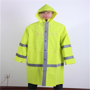 PVC/ Polyester /PVC Reflective Raincoat with Hood Fro Adult pictures & photos