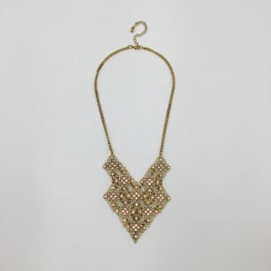 Fashion Alloy Mesh with Acrylic Stone Necklace