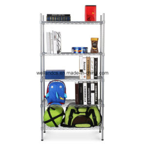 OEM 5 Tiers Adjustable DIY Home Storage Steel Chrome Metal Wire Shelving Racking pictures & photos
