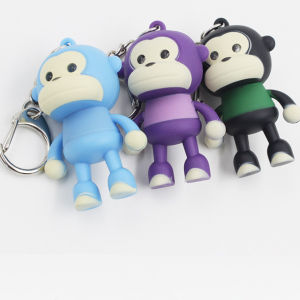 Cute Little Monkey with Vocal and Flash Plastic Keychain pictures & photos