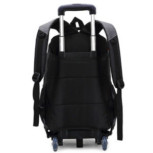 Black 420d Nylon Kids Luggage Trolley Wheeled School Backpack pictures & photos