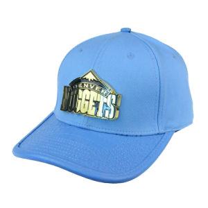 Custom High Quanlity Sport Cap Sky Blue Cotton PU Baseball Cap with Metal Logo pictures & photos