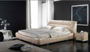 Leather Soft Bed, Simple Modern Design (6072) pictures & photos